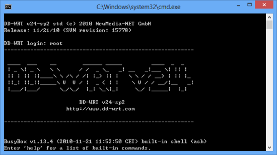 telnet-to-dd-wrt
